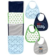 Simple Joys by Carter's Baby Boys' 8-Pack Burp Cloth and Bib Set, Sports/Dino, One Size