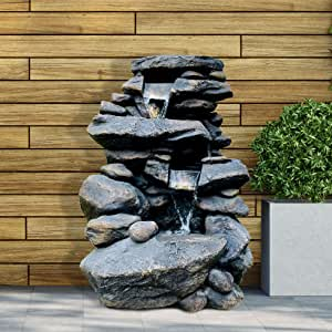 """Oritty 3-Tier Outdoor Rock Water Fountain with LED Lights, 26"""" Floor Standing Waterfall Soothing Sound Nature Decor for Garden, Patio, Deck, Porch, Lawn"""