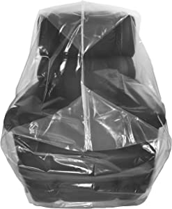 Wowfit Furniture Cover – Dust-Proof Moving Bag for Chairs, Recliners, Moving Boxes – Clear & Odorless Plastic Bag for Moving – 4mil Thick Chair Cover – 34W x 42D x 65/48H Inches