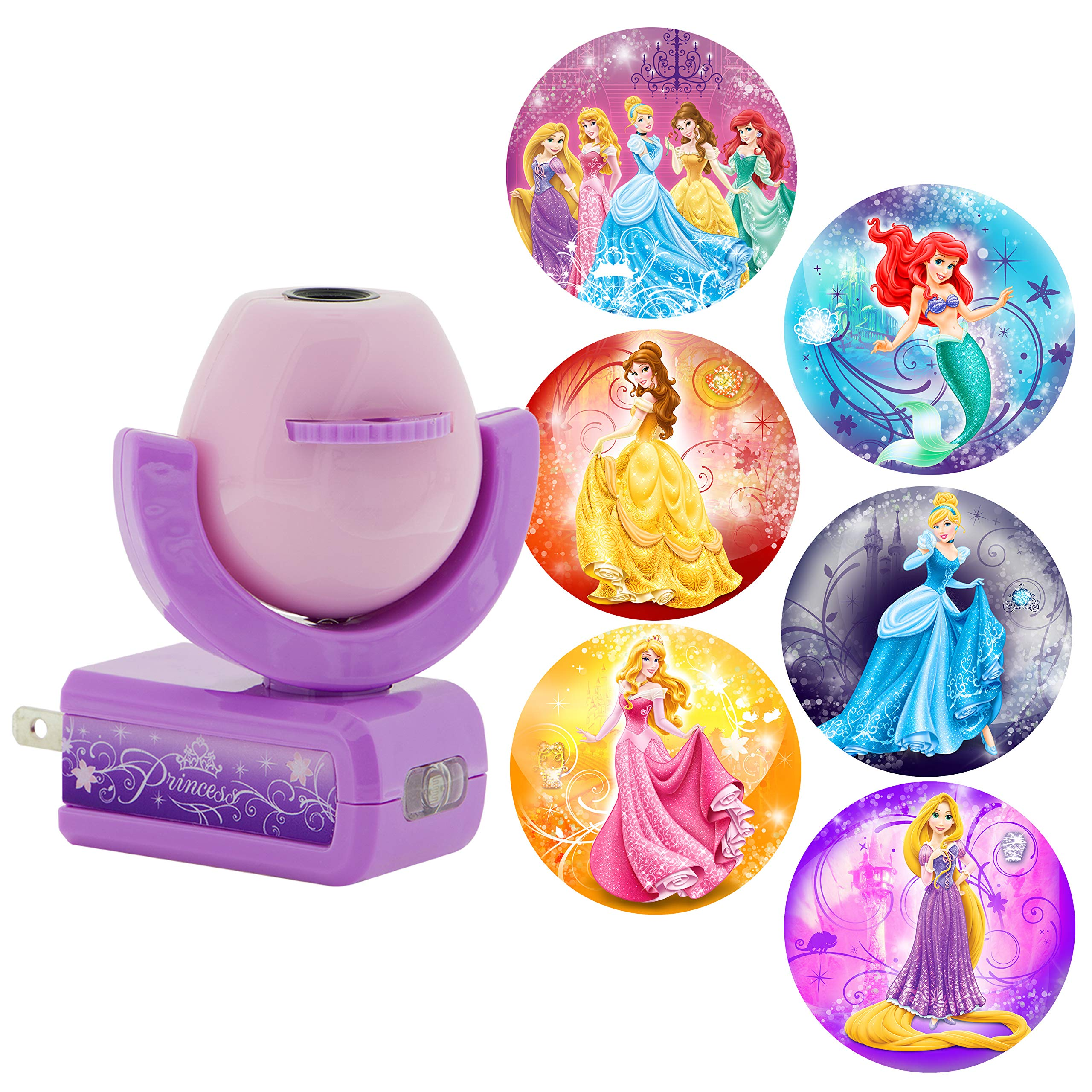 Projectables Disney Princess 6-Image LED Night Light Projector, Dusk-to-Dawn Sensor, Project Princesses Cinderella, Ariel, Aurora, Belle, & Rapunzel on Ceiling, Wall, or Floor, Pink/Purple, 11738 by Projectables