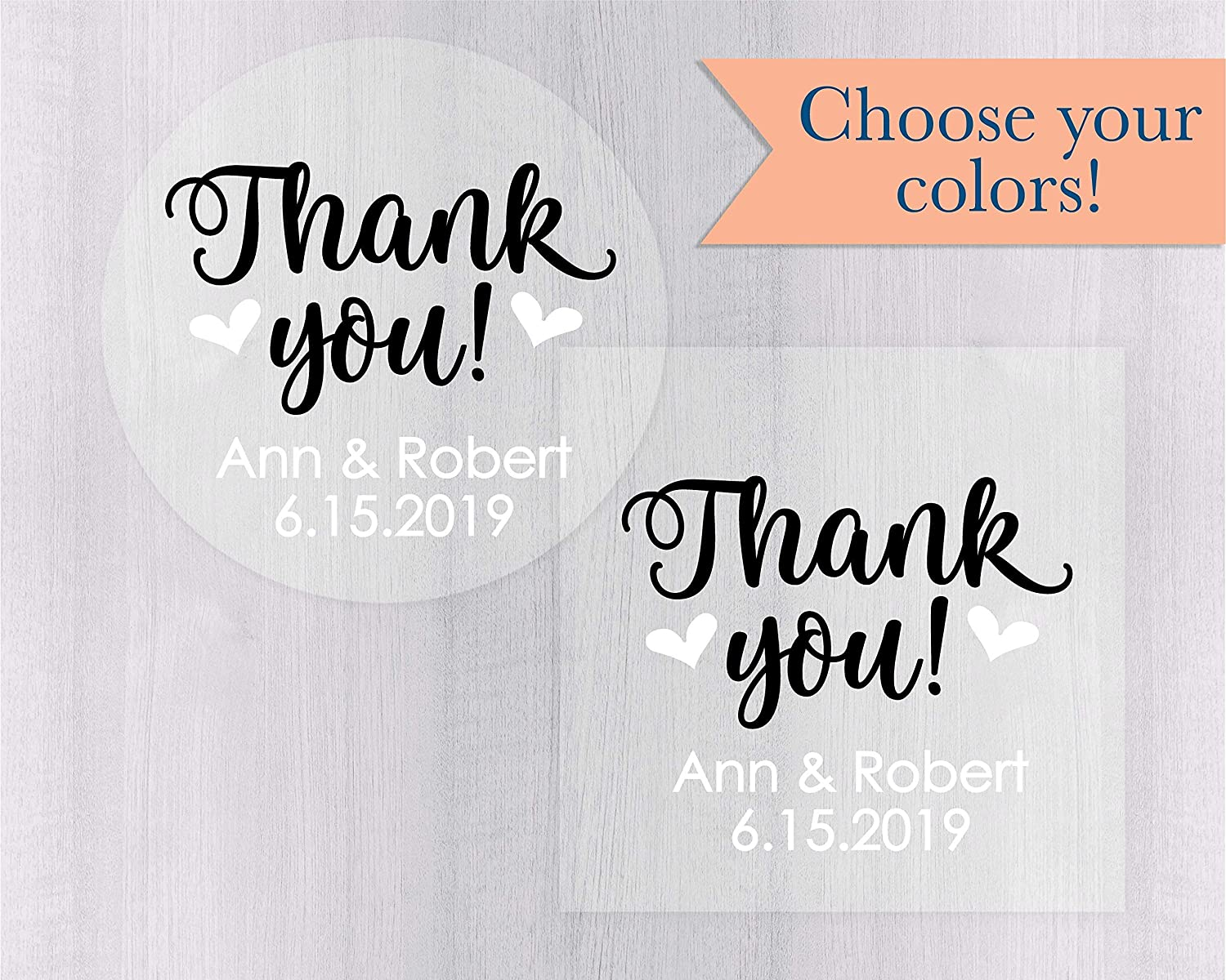 Amazon com personalized thank you sticker thanks labels clear stickers transparent thank you stickers 265 c handmade