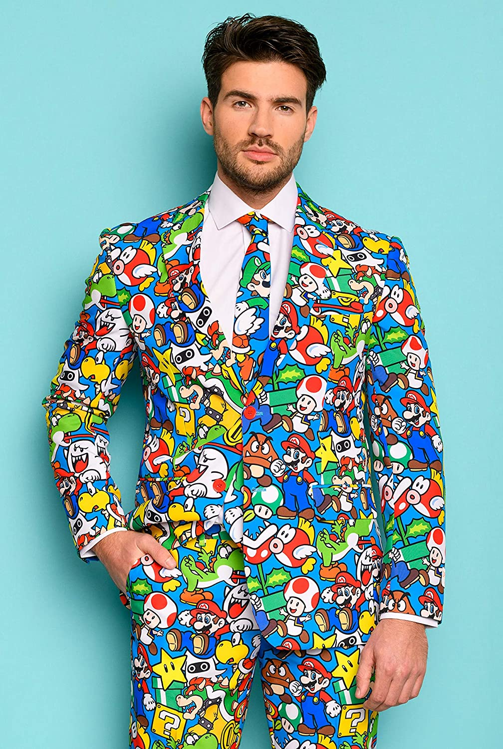 OppoSuits Mens Crazy Prom Suits Confetteroni Pants and Tie in Funny Designs 36 Comes with Jacket