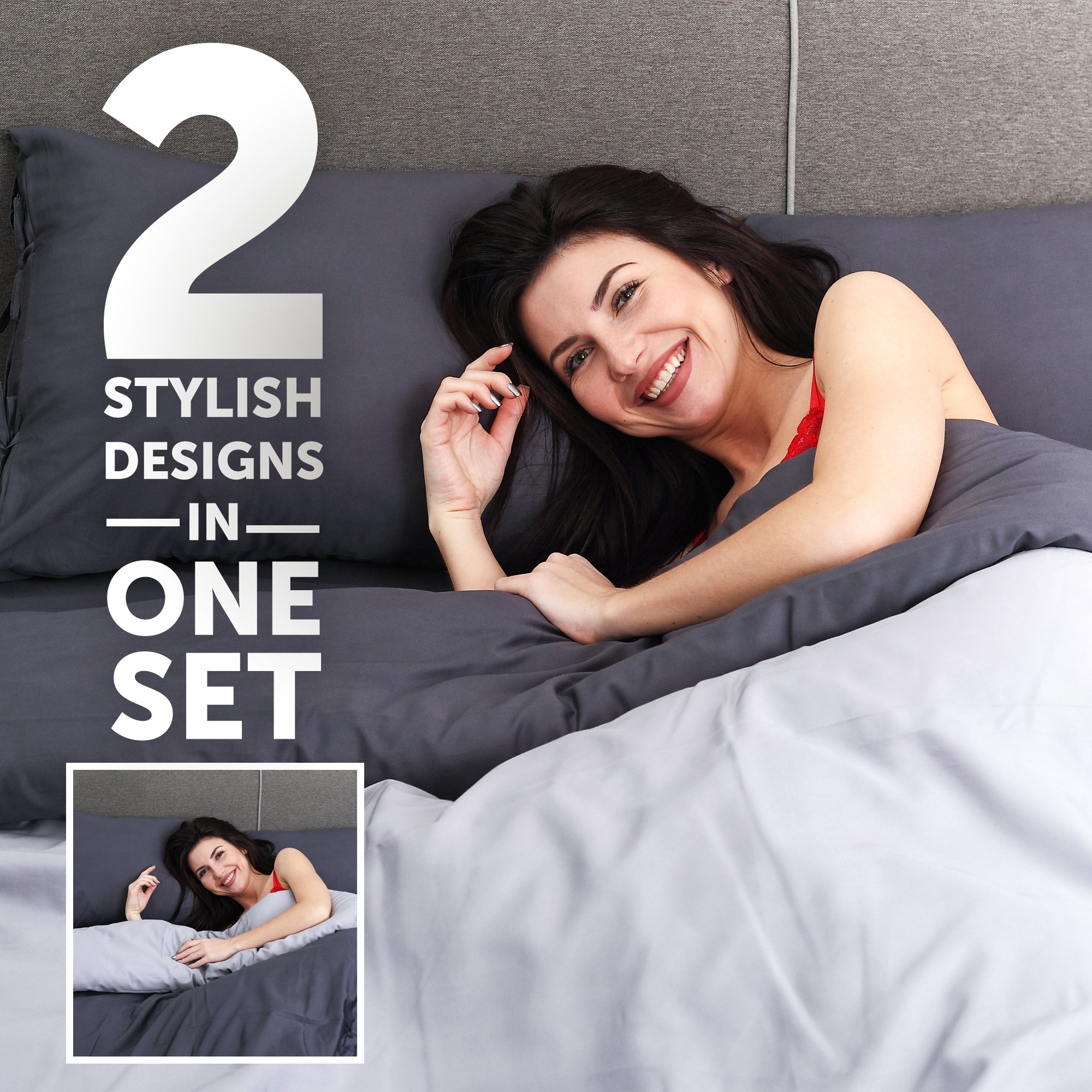 Cloudy Hugs Bed Linen Set – 100% Natural Textile: Sateen – & Comfortable for Sweet Dreams - 5 pc Set -Queen, Dark Gray/Light Gray by Cloudy Hugs (Image #3)