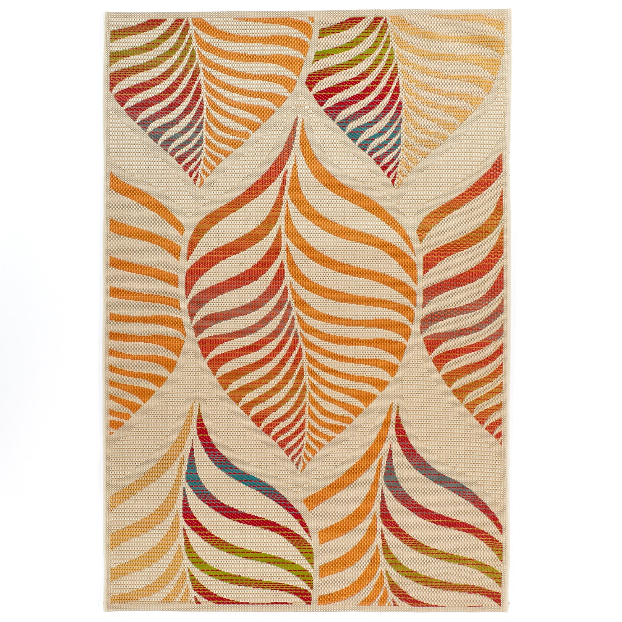 Carpet Art Deco Bellaire Collection Indoor Outdoor Rug, 5'3'' x7'5, Beige/Orange/Red