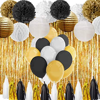 Paxcoo Black And Gold Party Decorations For 18th 21st 30th 40th 50th