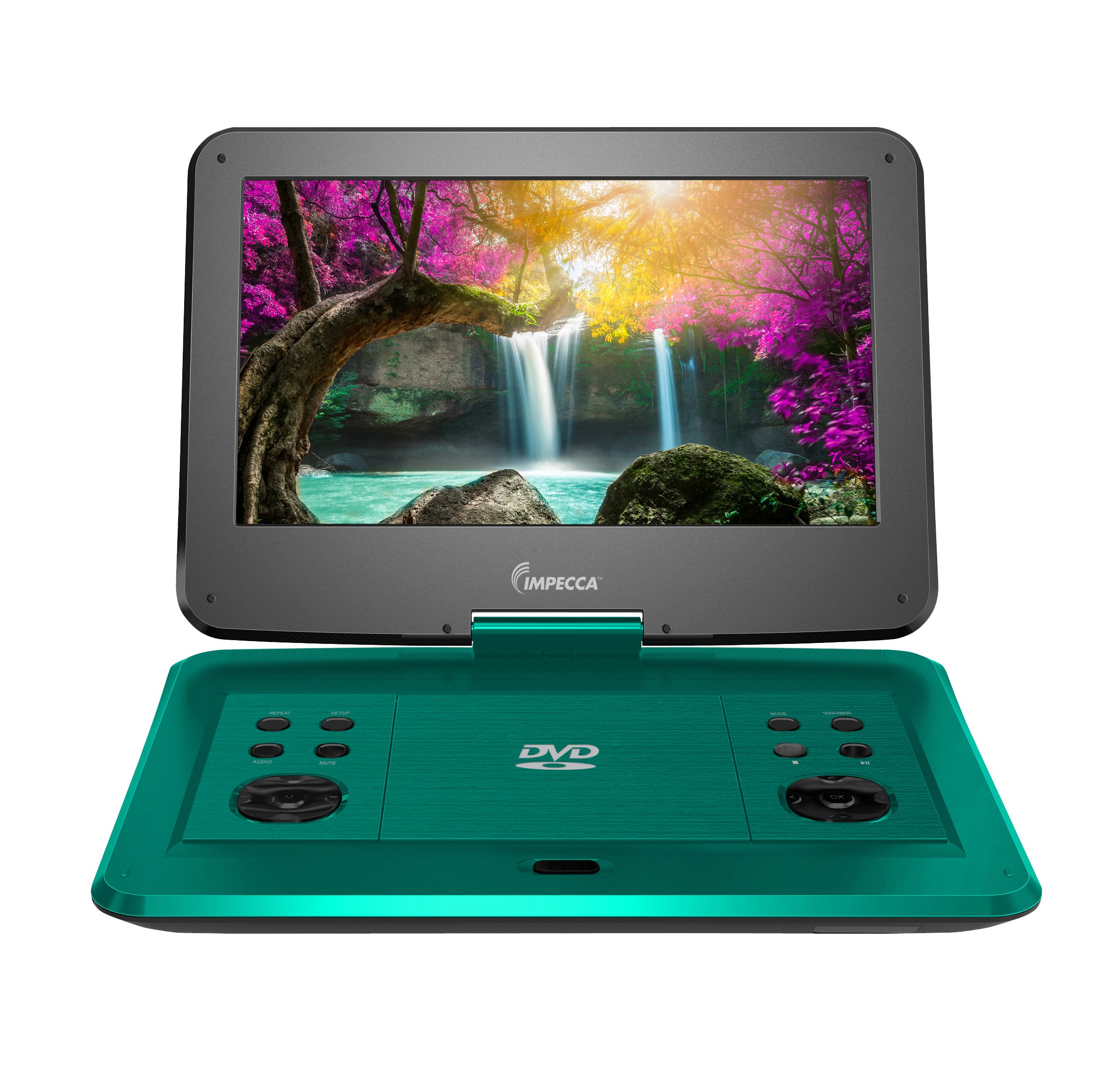 Impecca 13.3 Inch Portable DVD Player, Swivel Screen, 5 Hour Rechargeable Battery, with USB/SD Card Reader, And Deluxe Travel Bag, Teal (DVP1330T)