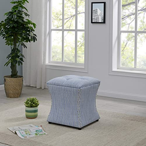 New Pacific Direct Amelia Nailhead Storage Ottoman,Blue Stripe