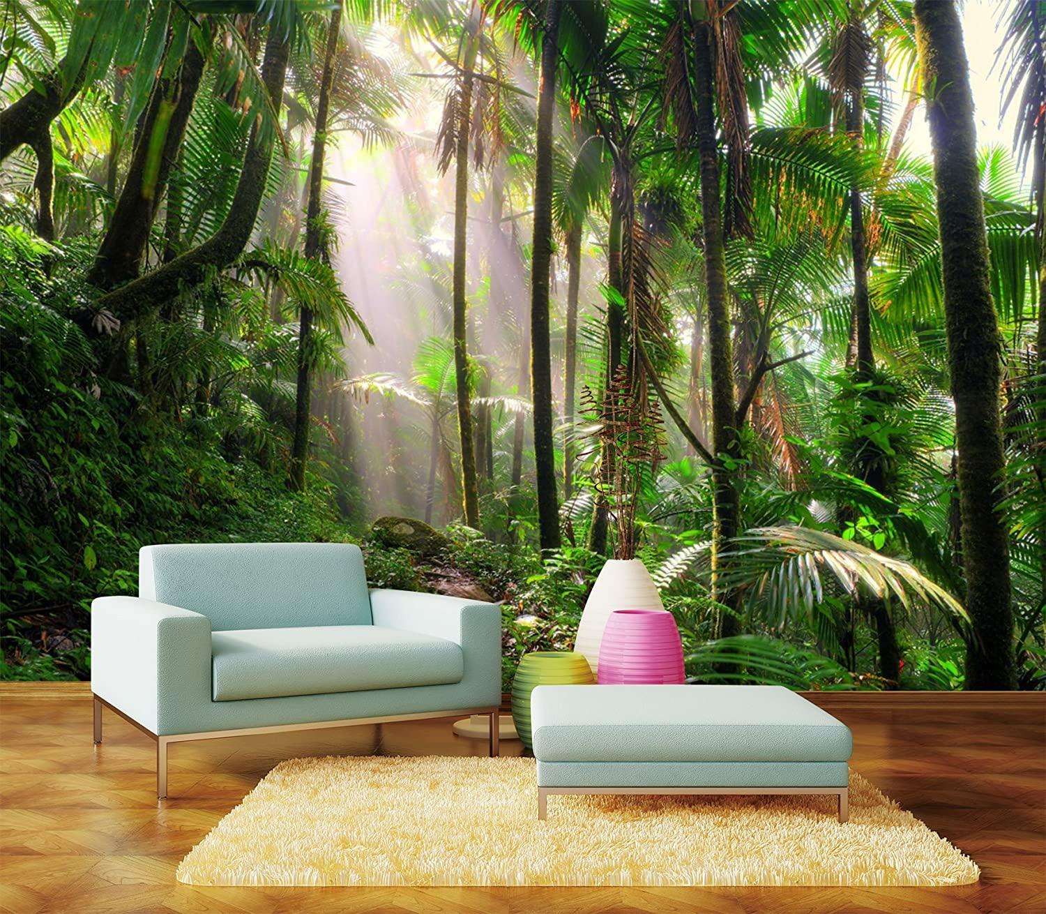 Green Forest Sunshine Full Wall Mural Wallpaper Print Decal Indoor Deco Home Au