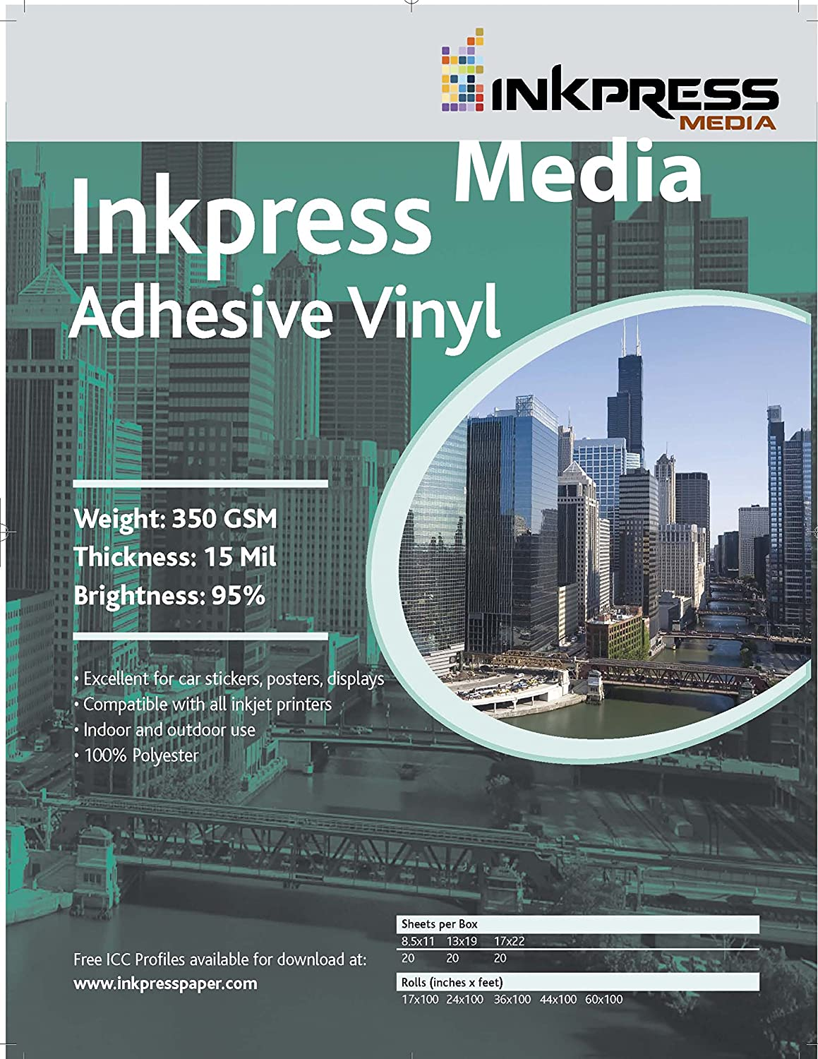 INKPRESS MEDIA AV172220,350GSM,13MIL, 95 Percent Bright, Photo Paper (#AV172220)
