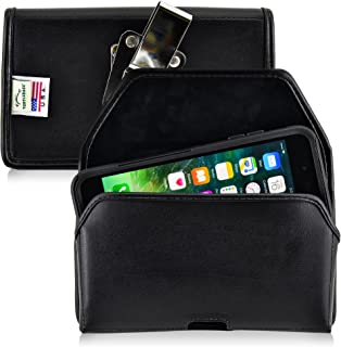product image for Turtleback Belt Case Compatible with Apple iPhone 8 Plus & iPhone 7 Plus w/OB Commuter case Black Holster Leather Pouch with Heavy Duty Rotating Ratcheting Belt Clip Horizontal Made in USA
