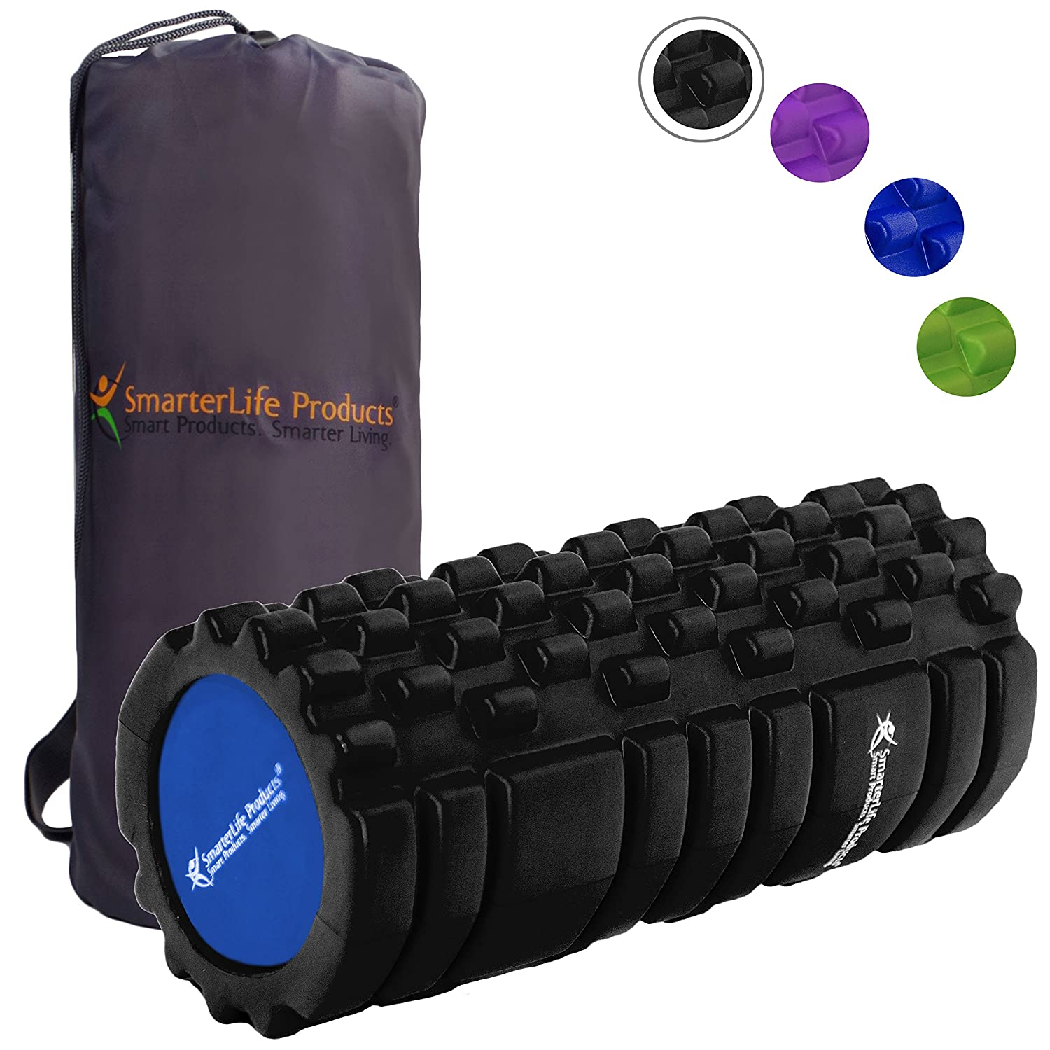 SALE! - Foam Roller by SmarterLife | Portable Massager for Pre Workout, Physical Therapy, Recovery after Yoga, Pilates, Cycling and Running
