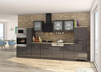 Held Möbel 590.1.6211 Mailand Küche, Holzwerkstoff, hochglanz grau ...