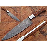 Handmade Damascus Steel Chef Knife Walnut Wood Handle