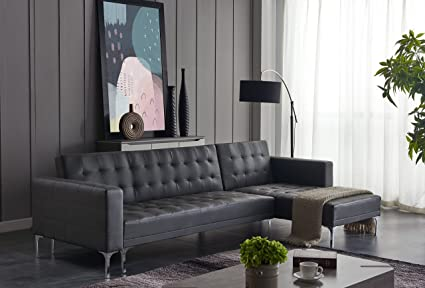 Amazon.com: Modern Sectional Leather Sofa Dark Grey: Kitchen ...