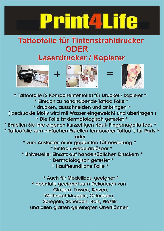 Schön Tattoo Folie Entfernen Dekoration Von 2 Blatt Din A4 Tattoo-folie Kerzen Body