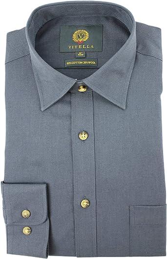 Viyella Plain Navy 80/20 - Camisa de Mezcla de algodón y Lana, Color Azul Marino Azul Azul Marino XS: Amazon.es: Ropa y accesorios