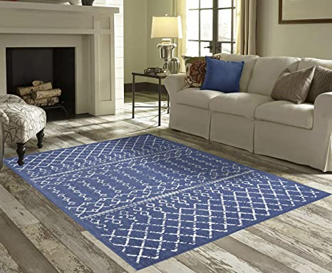 PRIYATE Florida Collection All Weather Indoor/Outdoor Bohemian Motif Rug  for Living Room, Bedroom, and Dining Room (5\'3\