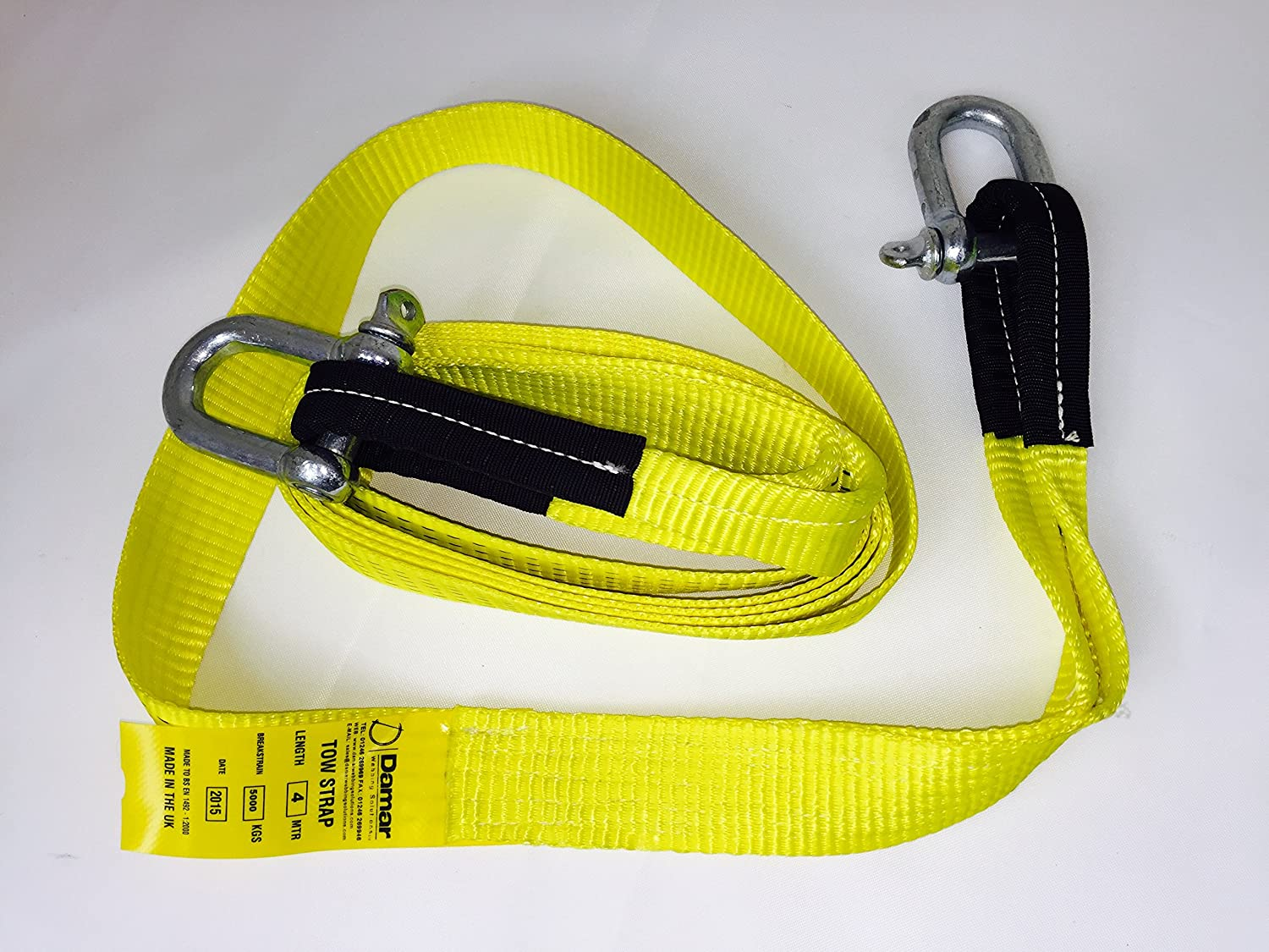 Damar Webbing Solutions Ltd Tow Rope Strap 5ton Heavy Duty 4mtr with 2 shackles