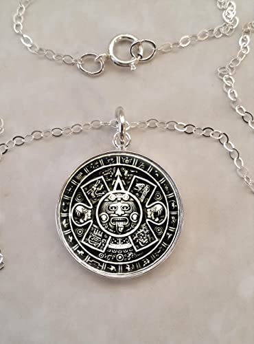 Colgante aztekenkalender 925 plata aztekenanhänger