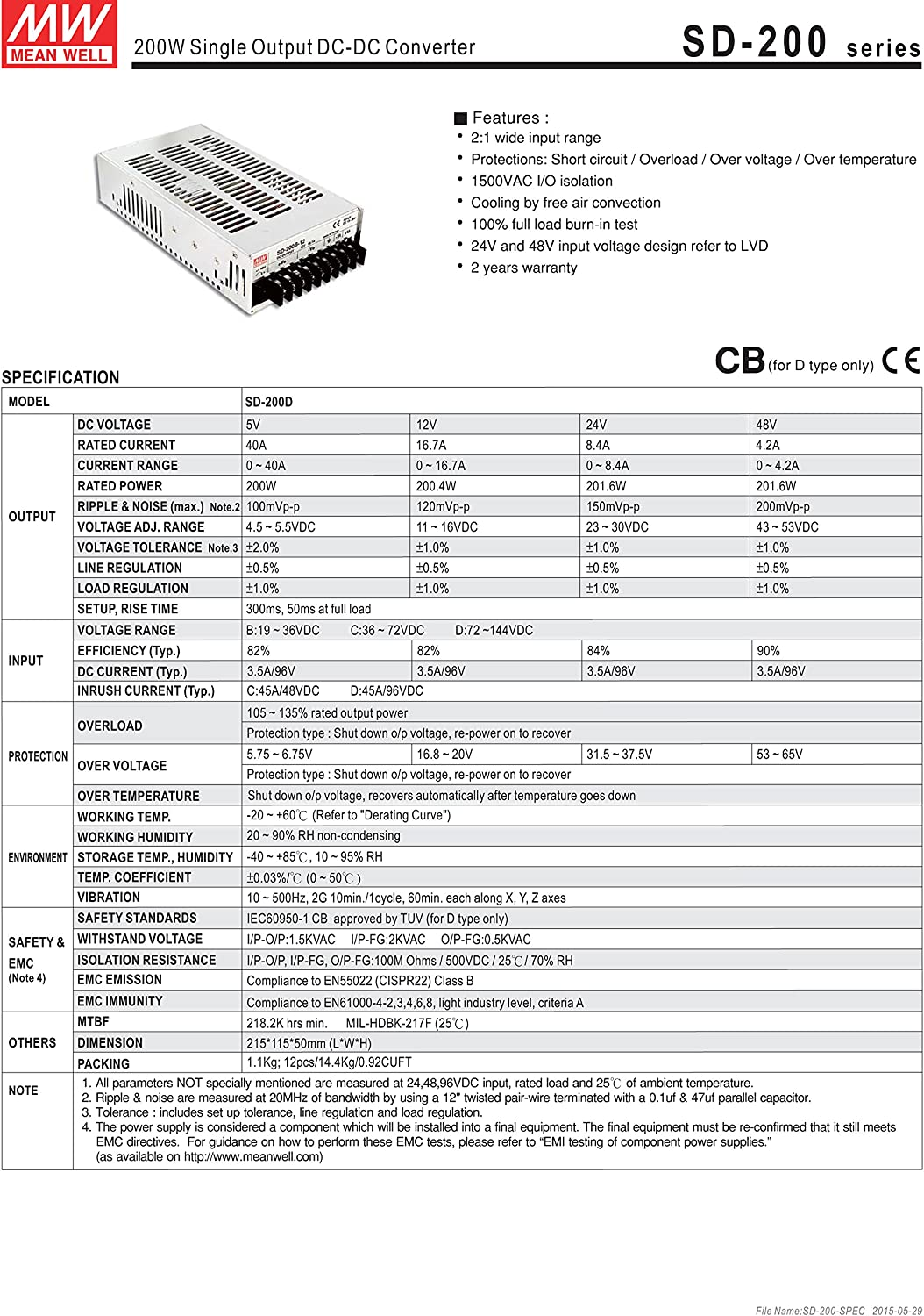 MW Mean Well SD-200C-5 5V 34A Enclosed Single Output DC-DC Converter