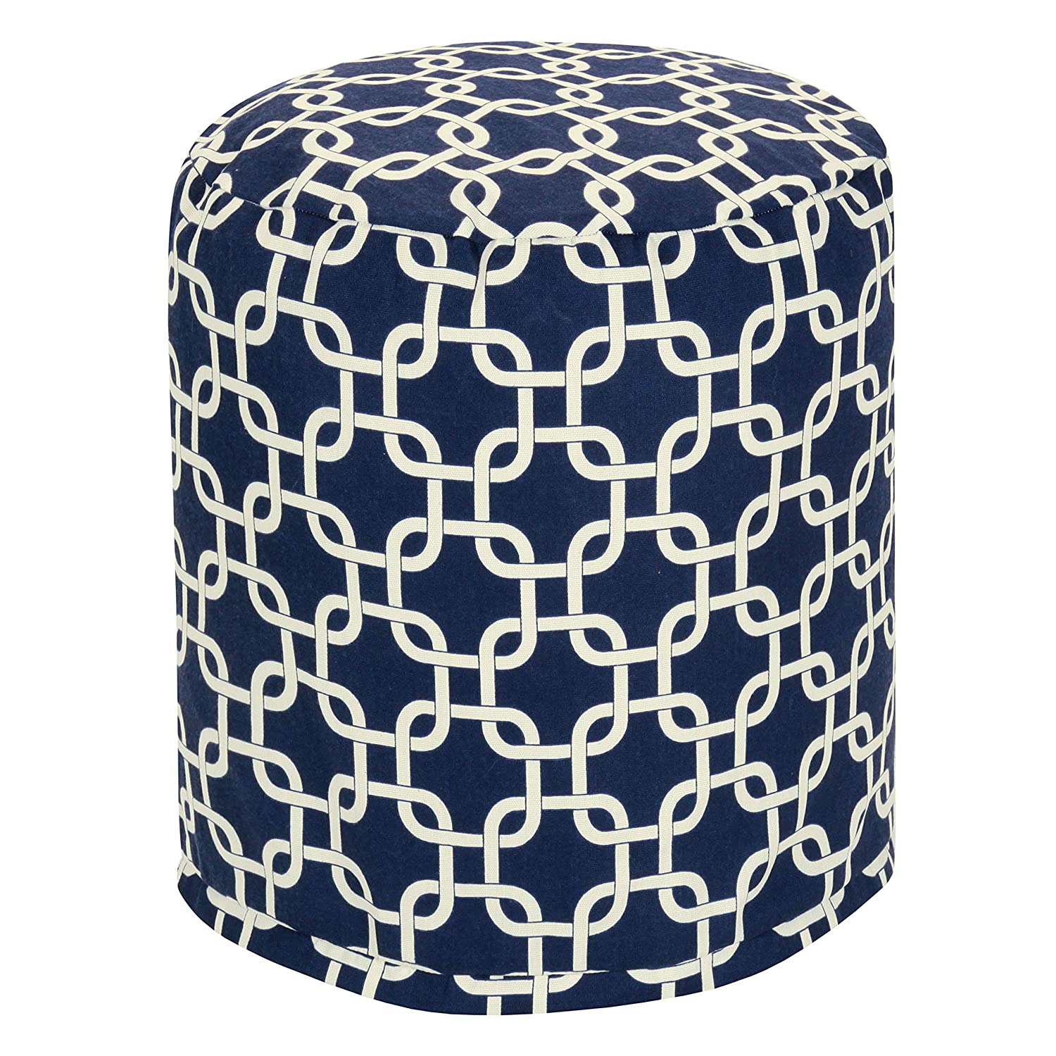 Majestic Home Goods Navy Blue Links Indoor Outdoor Bean Bag Ottoman Pouf 16 L x 16 W x 17 H