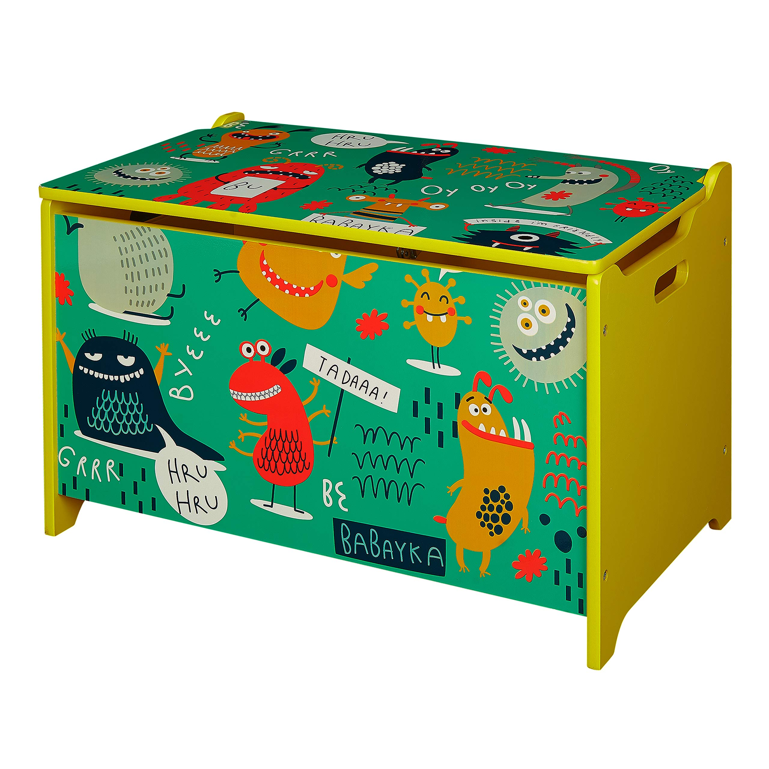 Kid's Monsters Wooden Storage Toy Box with Lid
