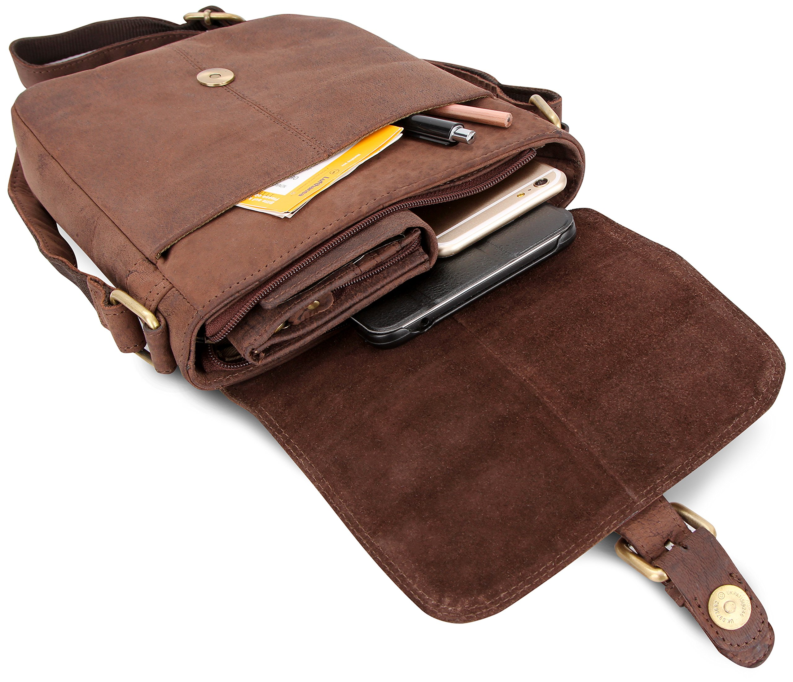 LEABAGS Weston genuine buffalo leather city bag in vintage style - Nutmeg by LEABAGS (Image #8)