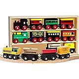Kids Destiny 12 Pcs Wooden Engines & Train Cars Collection Compatible with Thomas Wooden Railway, Brio, Chuggington