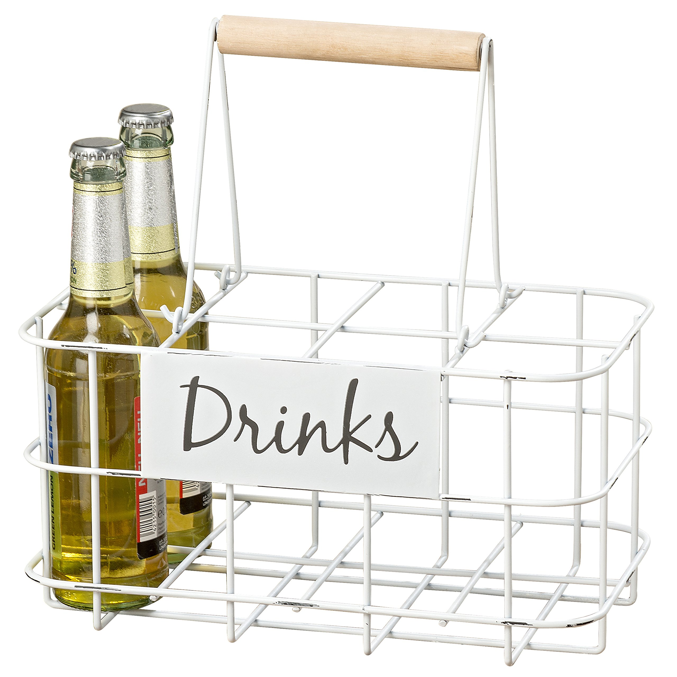 Whole House Worlds The Everyday Essential 8 Bottle Holder, Displayer, Vintage Style Milkman Carrier, Caddy, White Painted Iron, Distressed, 11 3/4 L x 6 3/4 H, Recycle and Reuse