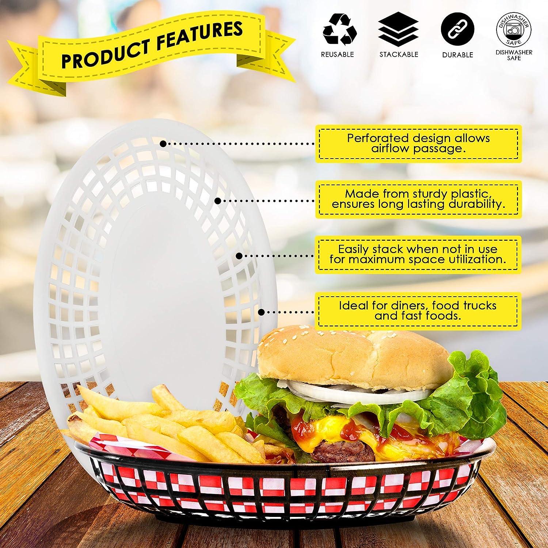 Paquete de 12 cenas y Fiestas Americanas Cesta de pl/ástico para Fiestas y barbacoas para Comida de Picnic barbacoas