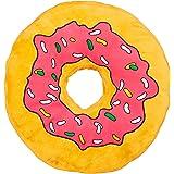 Relaxdays Coussin Donut XXL dessin animé décoration oreiller rond amusant, rose jaune
