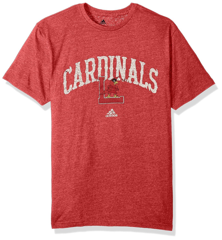 Medium Power Red Heathered NCAA Louisville Cardinals Mens Pastime Arch Vault Tri-Blend Short Sleeve Tee