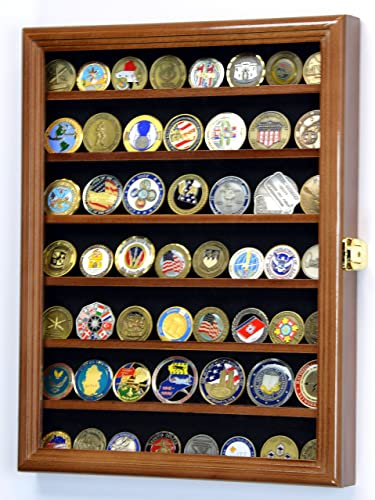 Military Challenge Coin Display Case Cabinet Rack Holder Stand Box w UV Protection, Walnut