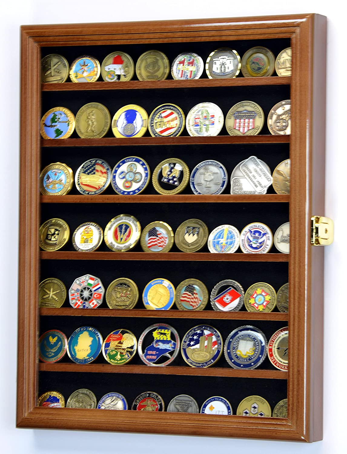 Military Challenge Coin Display Case Cabinet Holder Wall Rack w/ UV Protection -Walnut sfDisplay.com Factory Direct Display Cases
