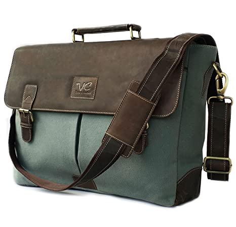 ed9e9f7d7ce Image Unavailable. Image not available for. Color  17.3 quot  Men¡¯s Messenger  Bag Vintage Canvas Leather Military Shoulder Laptop Bags By