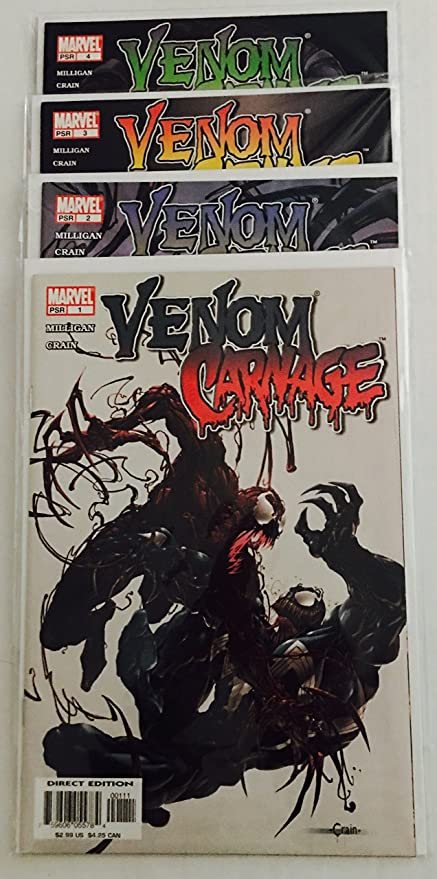 Venom vs. Carnage 2004 Series issues 1-4 by Clayton Crain & Peter Milligan, In NM, First Print