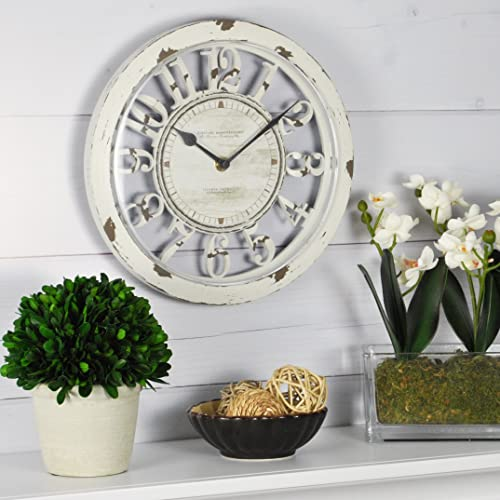FirsTime Co. Antique Farmhouse Contour Wall Clock, American Crafted, Distressed Ivory, 10 x 2 x 10,