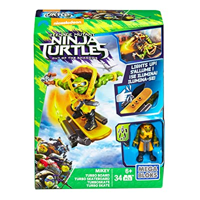 Mega Bloks Teenange Mutant Ninja Turtles: Out of The Shadows Mikey Turbo Board Playset: Toys & Games