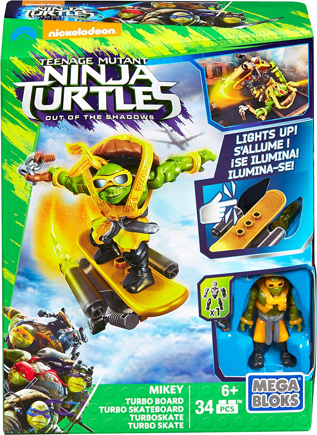 Mega Bloks Teenange Mutant Ninja Turtles: Out of The Shadows Mikey Turbo Board Playset