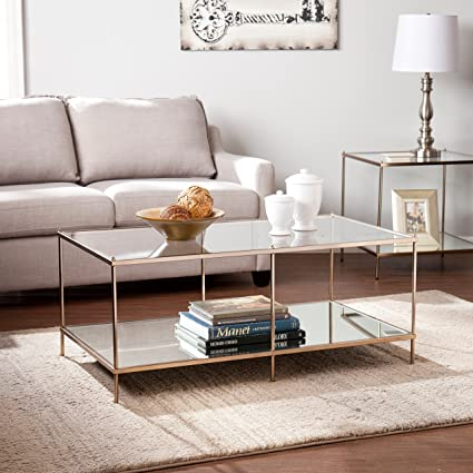 Amazoncom Modern Transitional Gold Cocktail Coffee Table With