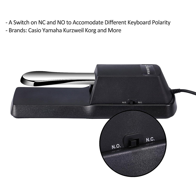 Asmuse Pedal Sustain Teclado para e Piano Digital Yamaha Casio y interruptor de polaridad 1,73m: Amazon.es: Instrumentos musicales