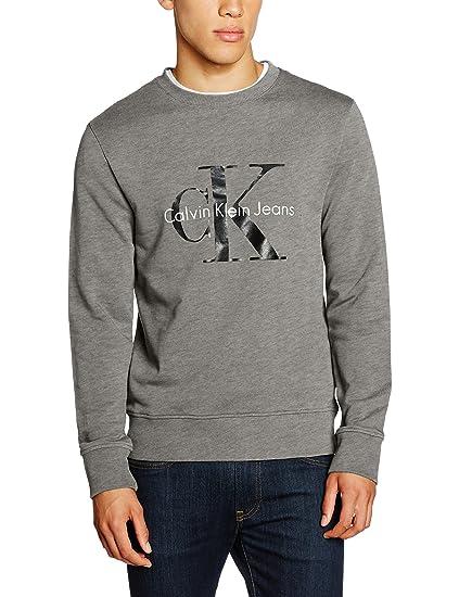 Calvin Klein Men's Crew Neck HWK True Icon Sweatshirt, Grey (Mid Grey  Heather)