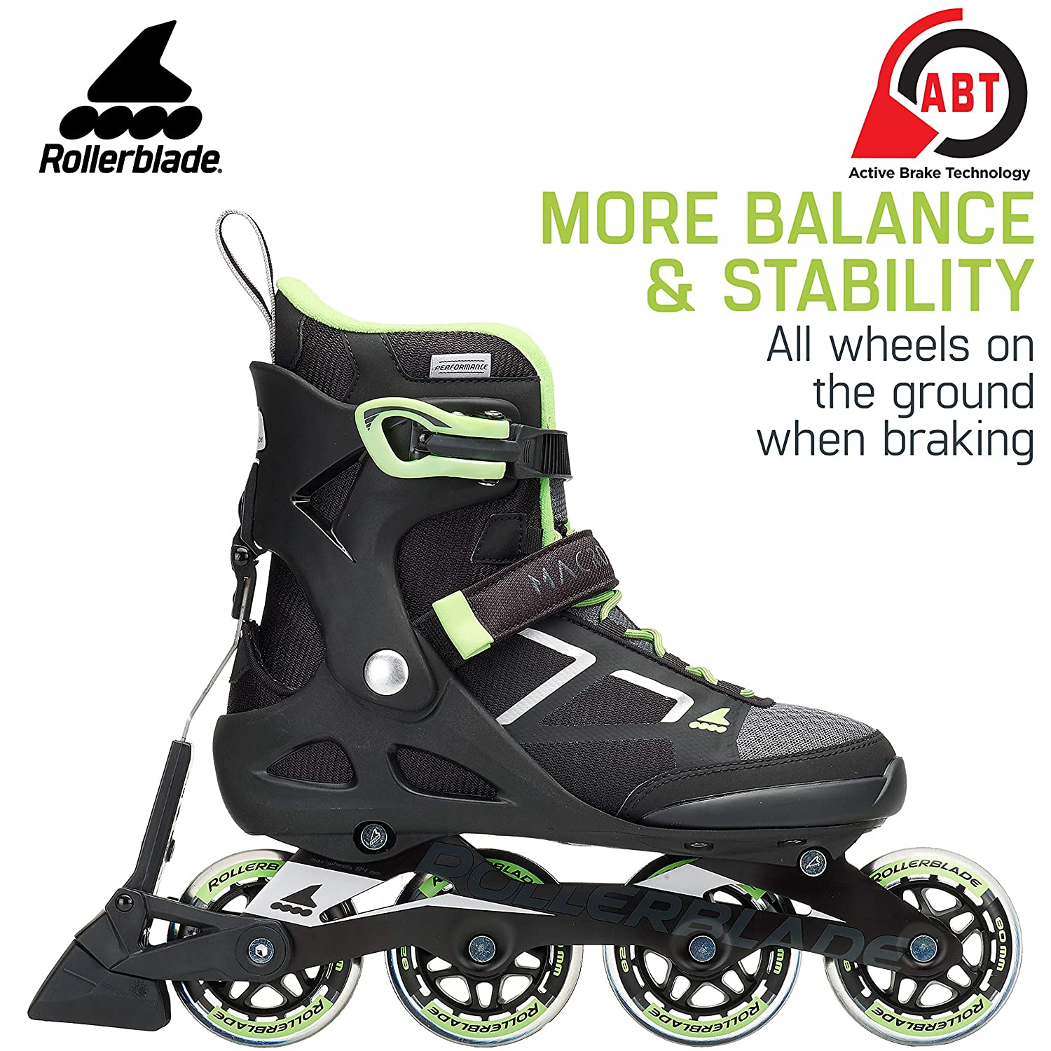 930f513a5ab Amazon.com : Rollerblade Macroblade 80 ABT Women's Adult Fitness Inline  Skate, Black and Light Green, Performance Inline Skates : Sports & Outdoors