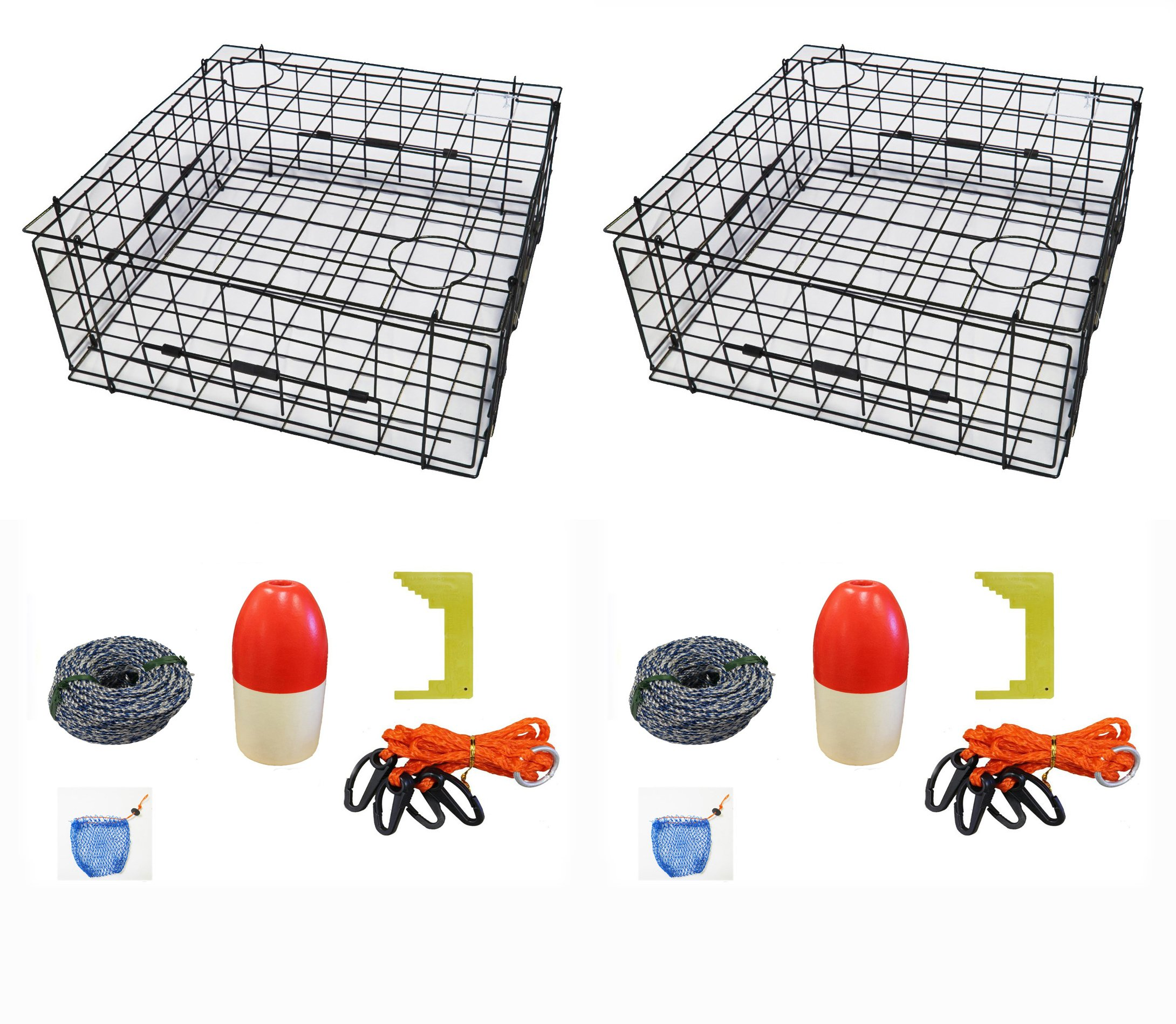 2-Pack of KUFA 28'' Vinyl Coated crab trap & accessory kit (100' Non-Lead sinking line,Clipper,Harness,Bait Bag & 14'' Float) (S70+CAS3)x2