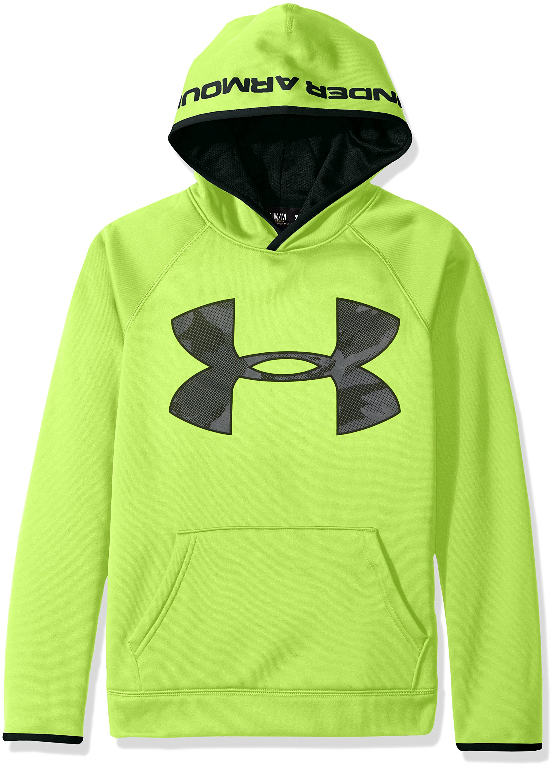 Under Armour Boys' Storm Armour Fleece Highlight Big Logo Hoodie, Fuel Green (364)/Black, Youth Small by Under Armour (Image #2)