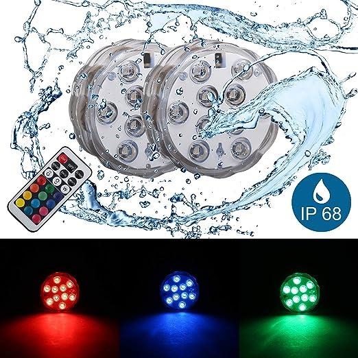 2 Pack Luces Sumergibles con mando a distancia Multicolores RGB, IP68, Ø 70 mm, iluminación decorativa para bajo el agua y cubitera para botellas: Amazon.es: Iluminación