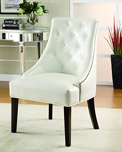 Coaster Casual White Accent Lounge Chair With Tufted Button Back