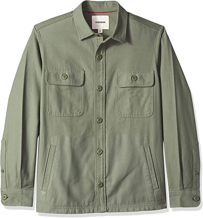 60s 70s Men's Jackets & Sweaters Amazon Brand - Goodthreads Mens Military Broken Twill Shirt Jacket $39.72 AT vintagedancer.com
