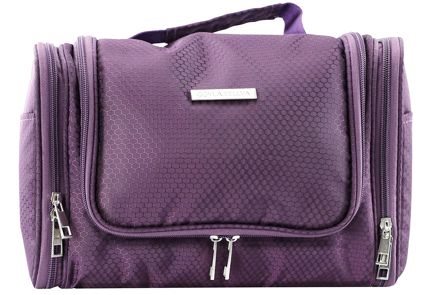 Toiletry Bag,Cosmetic Bag, GOVI.A.SELLVA XXL Toiletry Bag with large Capacity and Various Compartments for Travel Camping Business Trip 30x20x14cm Purple