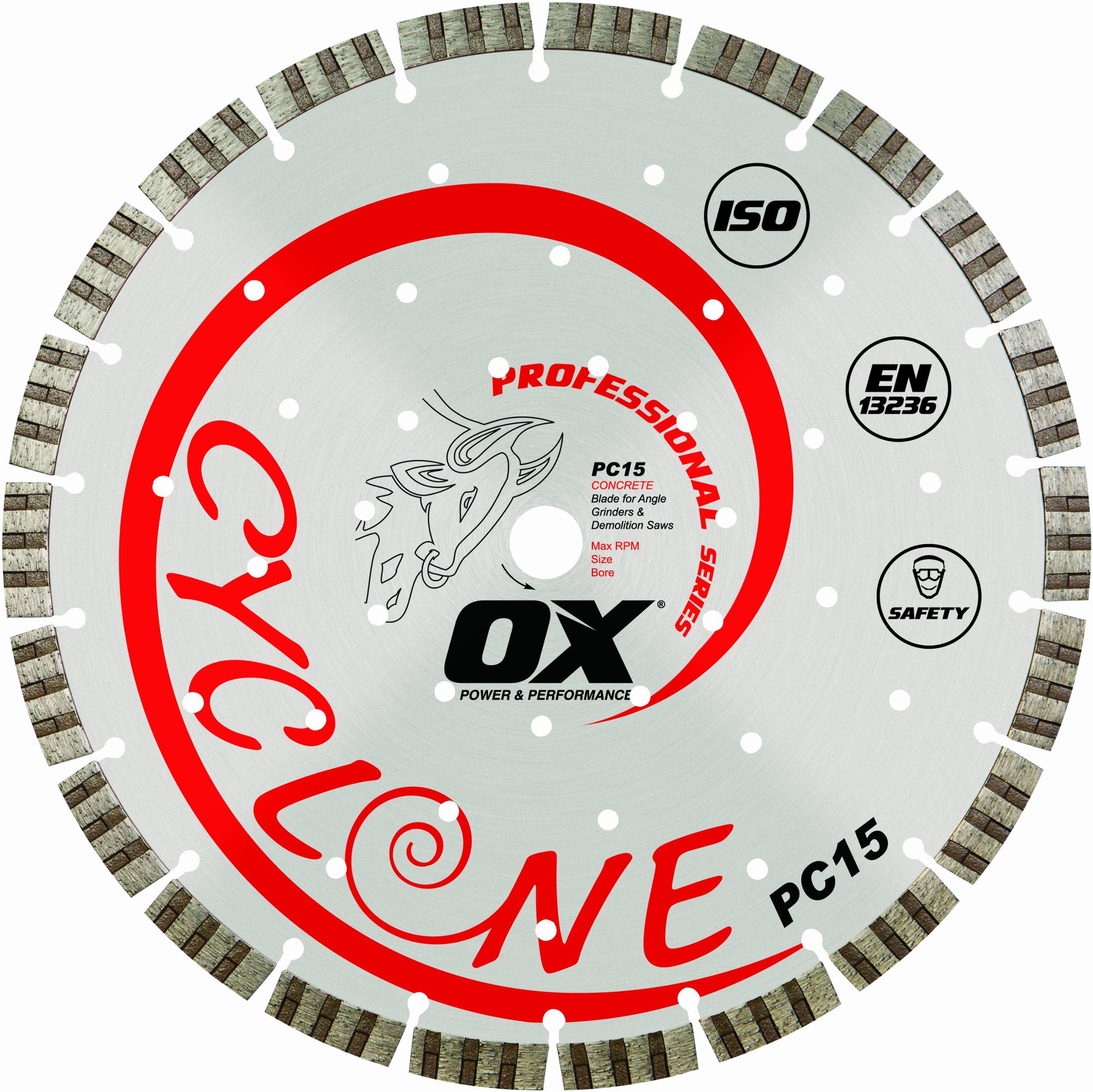 Disco de Diamante OX TOOLS 12 pulg. segmentada supercortada | Hormigón / Propósito general | 1 - 20 mm de diámetro inter